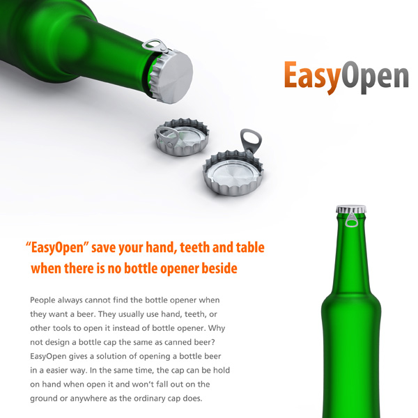 Easy Open – Bottle Cap Design by Gonglue Jiang