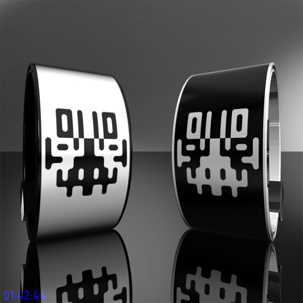 Symmetrical Rorschach Inspired Digital E-ink Watch by Samuel Jerichow