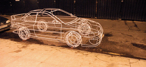 Real Wire Frame Subaru Sculpture by Benedict Radcliffe