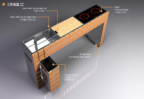 hidden kitchen by june he yanko design. Black Bedroom Furniture Sets. Home Design Ideas
