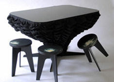 Fabric Draped Curtis Table by Jenny Nordberg