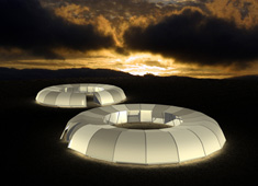 Sphere-shaped Emergency Shelter Bonds Community