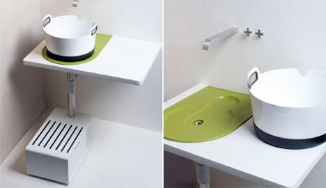 Take Away Sink Saves Water & Space