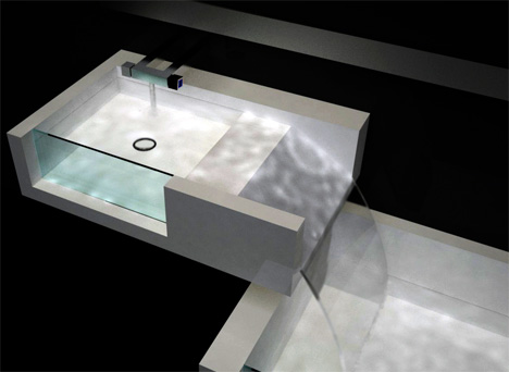 Designer Bathtub personalized cascading waterfall in your bathroom | yanko design