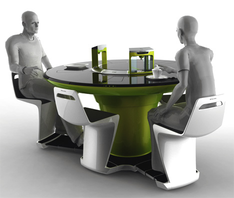 Eat cook and clean up all at the same table yanko design for Futuristic dining table