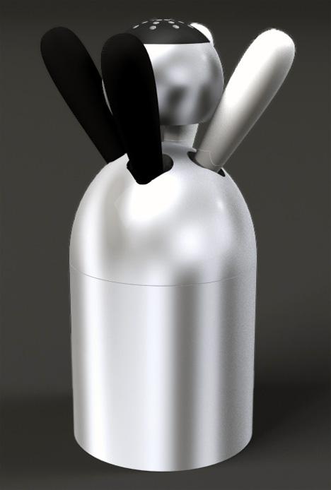 Black & White With Salt, Black And White Peppermill by Mac Funamizu