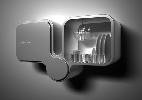 Electrolux Bifoliate Wall-Mounted Double Dishwasher by Toma Brundzaite