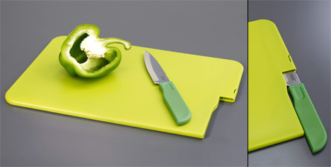 Slice & Store Kitchen Cutting board and Knife by Jospeh Joseph