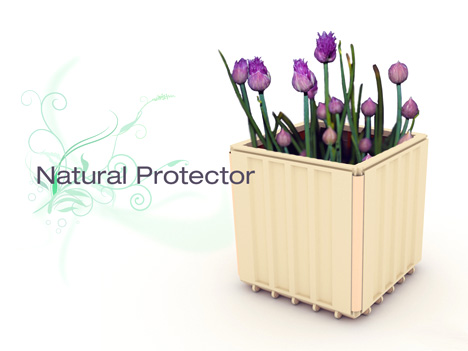 Natural Protector: Modular Flowerpot for Roof Garden by Kyoungho Ha