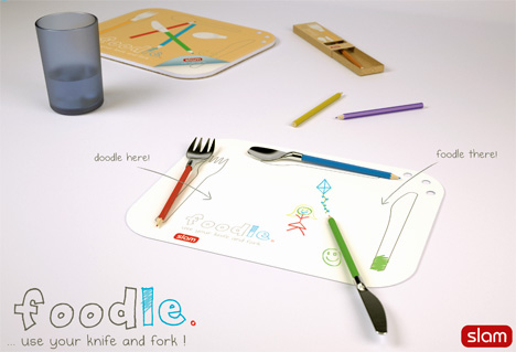Foodle – Knife, Fork, Color Pencils And Doodle Placemat Set For Children by Peter Dalton