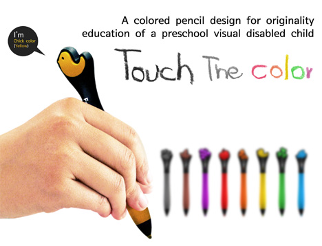 Feelor Touch The Color – Color Pencils For Blind Preschool Children by Noh Ji Hun