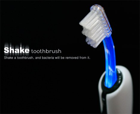 Shake Toothbrush – Kinetic Powered Ultra Violet Sterilization For Toothbrushes by Hak Hyeon Ryu & Gil Ho Jin
