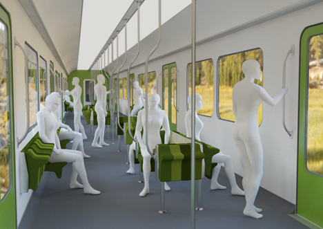 Suburban Train mass transit car seating system by Jun Yasumoto