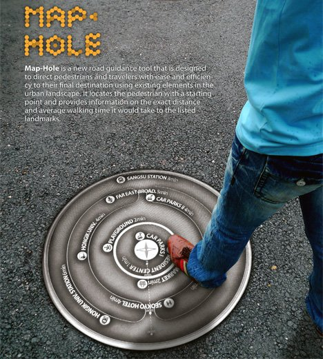 Map-Hole High-tech Manhole Cover With City Map by Jiae Kwon
