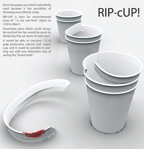 RIP-cUP Disposable Paper Cups by Yoo-Jin Kim & Hyesun Lee