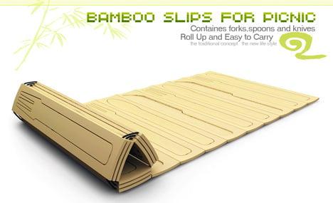 Bamboo Slips for Picnic, Bamboo Cutlery by Li Ya, Li Lei, Jiang Xiaofan, Zhai Zhen & Zhang Xiaolei