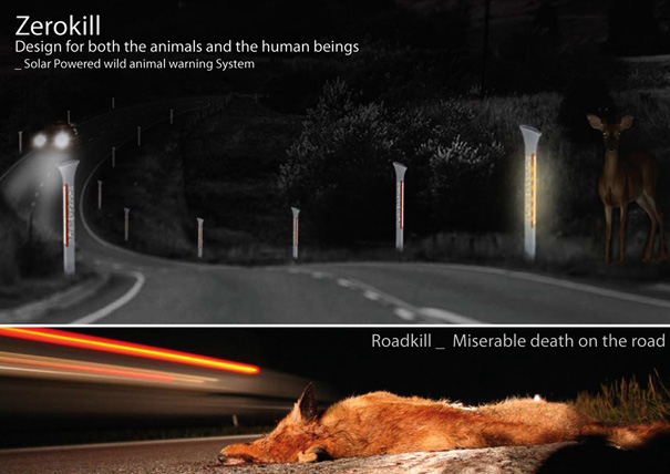 Zerokill Solar Powered Wild Animal Warning System On Highways by Sungi Kim & Hozin Song