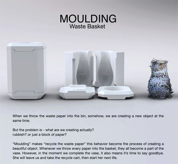 Moulding Paper Recycling Vase by ShiKai Tseng