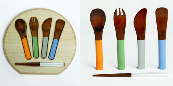 Co Zen Maple Lacquer Cutlery Set For Children by Keisei Takemata for NUSHISA