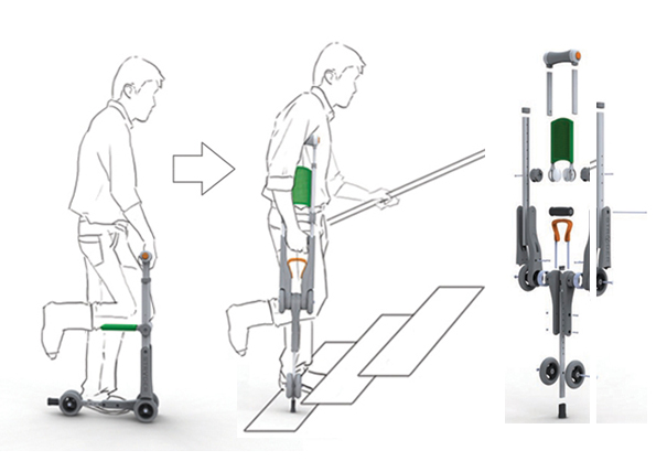 Stryder two-in-one crutch and knee scooter by Dat Huynh