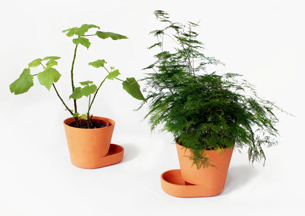 Plant Pots flower pot and saucer combined into one by Uli Budde