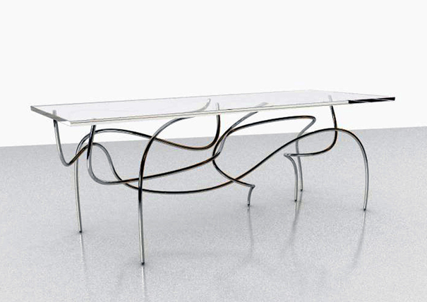 Continuum Table inspired by folds in the space time continuum by Jason Phillips