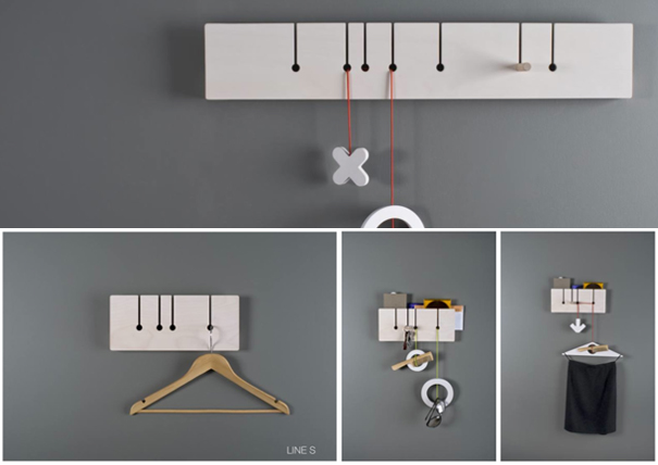 Line wall mounted coat rack by Pavel Sidorenko of Adsen Furniture