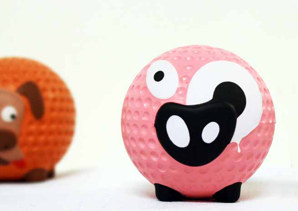 Aniballs animal faces and feet on golfball-like game balls by Monsieur Madame Design