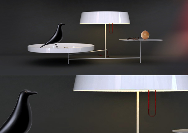 Acueil lamp and trays by Arnaud Lapierre