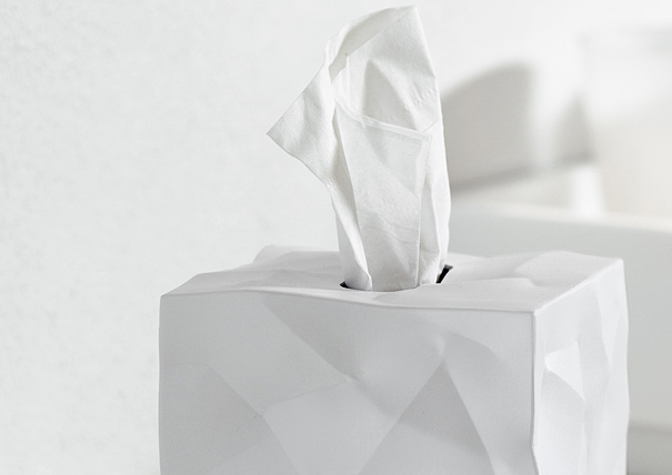 Tissue creatively fashioned box cover for tissue box by John Brauer