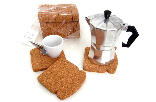 Toast It - Cork Bread-Shaped Trivet / Coaster by Patricia Naves for Design Studio OITI