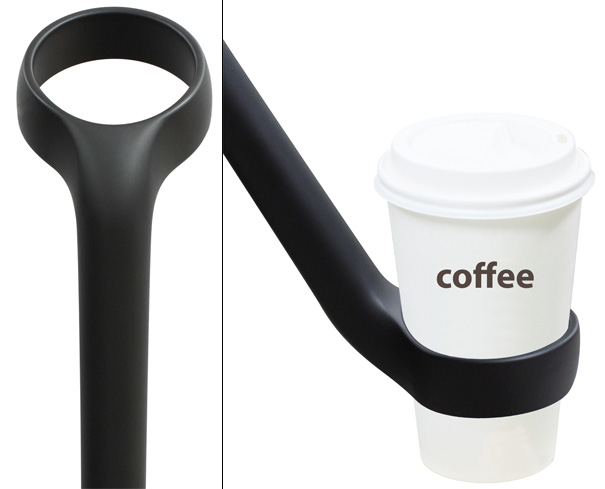 Umbrella With Coffee Cup Handle by Jung-Woo Lee for Ek Design
