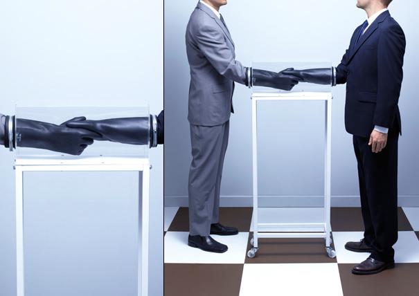 Pre-Handshake Handshake Device by Dominic Wilcox