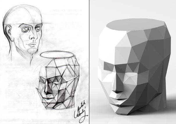 Nuova Testa del David aka Davids New Head stool by Onur Mustak Cobanli