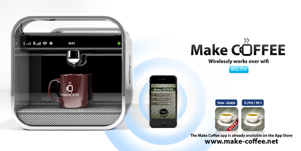 Make Coffee iPhone App For WiFi Controlled Coffee Machine by Mario Baluci
