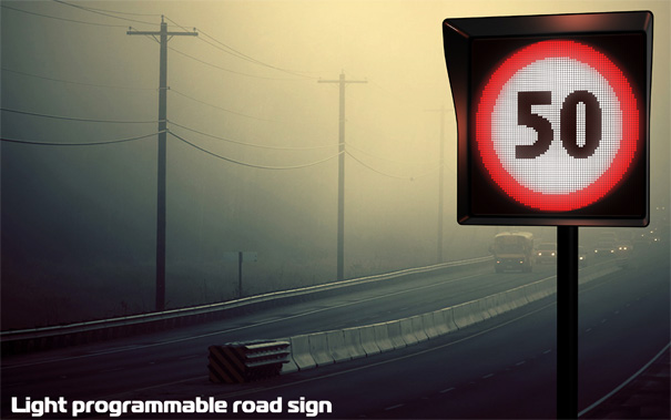 Light Programmable Road Sign by Alexey Chugunnikov