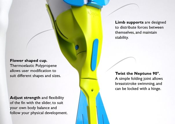 Neptune orthopaedic swimming aid for lower limb amputees by Richard Stark