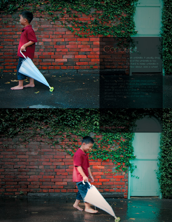 Wheel Umbrella For Children by Lin Cheng-Han, Chung Yu-Hsun, Cheng Yu-Ting & Chen Shaw-Chen