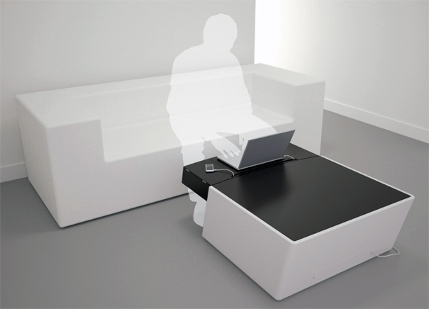 @home Coffee Table That Integrates Gadgets by Philippe Barsol