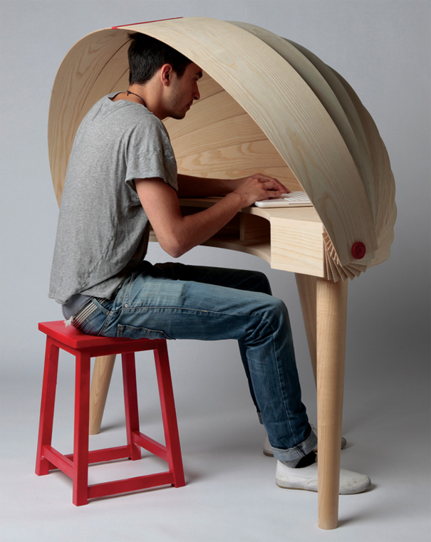 Duplex Workspace Retractable Hooded Desk by Sophie Kirkpatrick