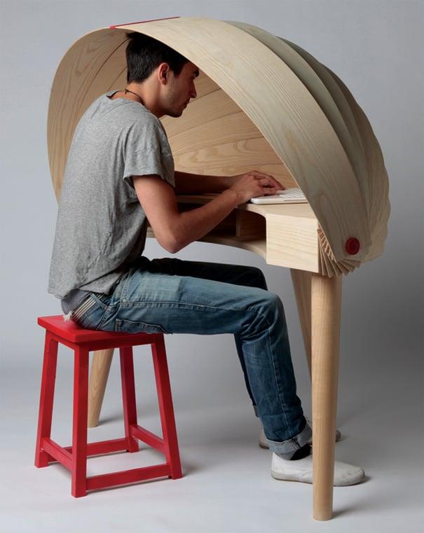 Duplex Workspace Retractable Hooded Desk by Sophie Kirkpatrick
