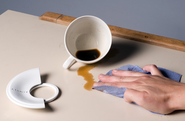 Clumsy – Coaster With Coffee Cup And Saucer by Olga Kravchenko