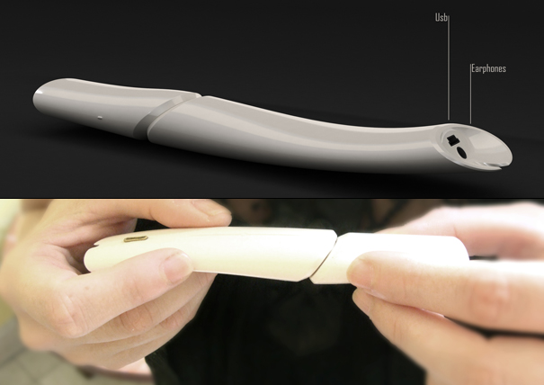 Bone Shaped Standalone Voice Recorder by Dror Goldblum