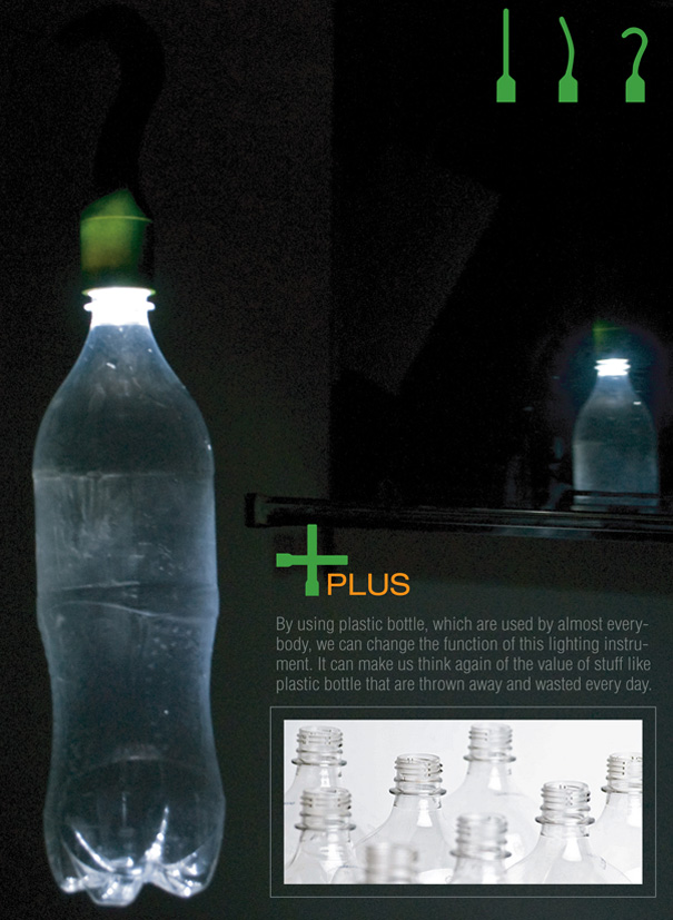 + (Plus) Conjunctive Flash Light and PET Bottle Lamp by Lie Zhong-Fa, Lee Sang-Bong & Ji Jung-Ah