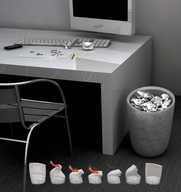 Push Up Waste Basket by Sung-Hyeun Shin, Jeong-Hoon Cha & Chang-hyeun Lee