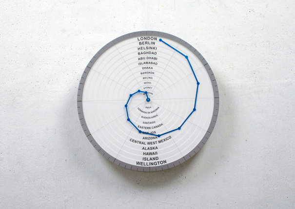 Bend Hand world clock by Giha Woo