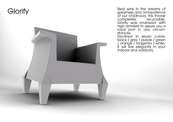 Glorify Armchair, Diamond Table, and Dinoz desktop accessory by At-Once Design