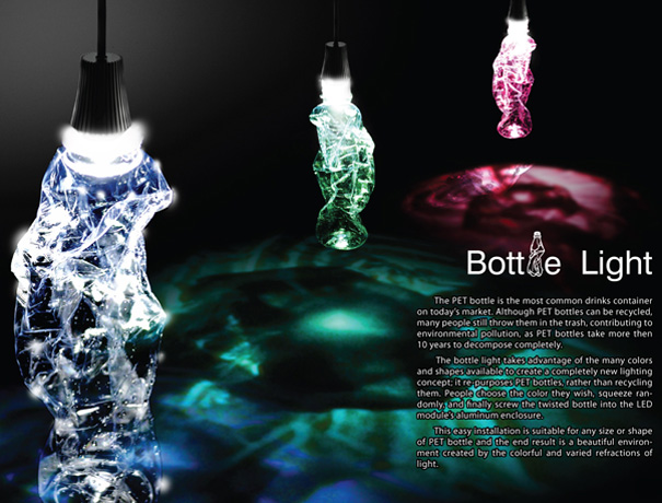 Bottle Light – LED Light Using Recycle PET Bottles by YaRan Chang, Hsin Chou Liao, Chung en Lee & Simon Shih