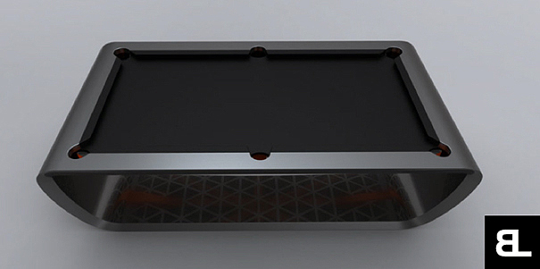 BlackLight Billiard Table by Cronier, Aubert, Deconinck, Vercoutere, and Bailly
