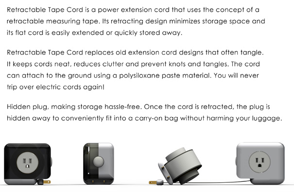 Retractable Extension Cord >> Super Flat and Retractable Cord   Yanko Design